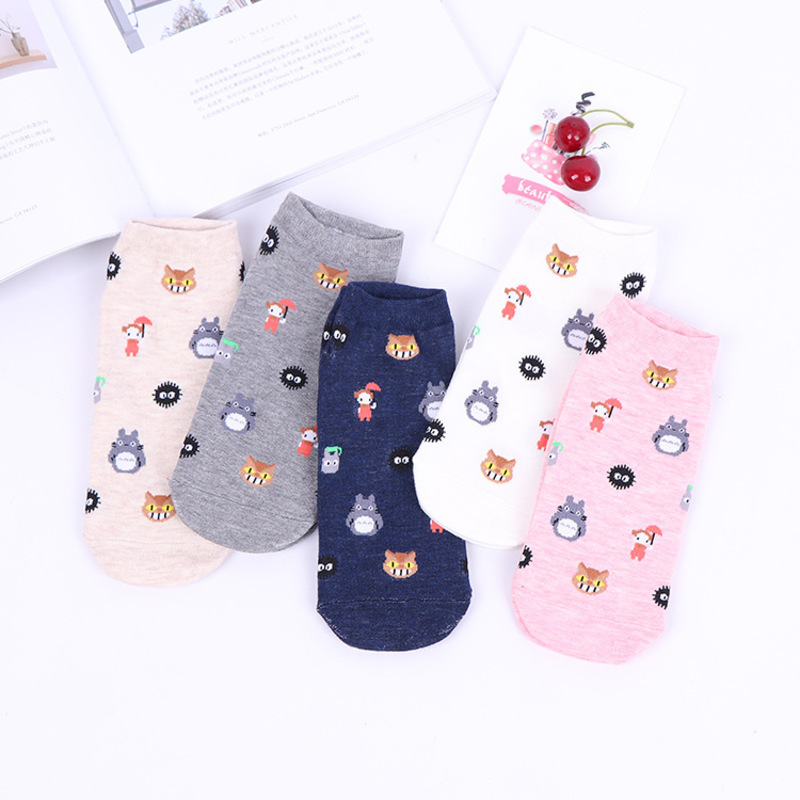 PEONFLY Woman Lovely Dragon Cat Girl Wolf Dog Black Ball Little Comfortable Cotton   Sock   Funny Pattern Canister hosiery women