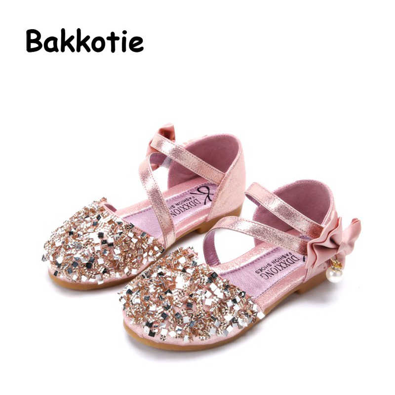 Bakkotie 2018 Spring New Baby Girl Fashion Pearl Bow Shoe Toddler Pu  Leather Children Brand Glitter 8dc7d9faeafc
