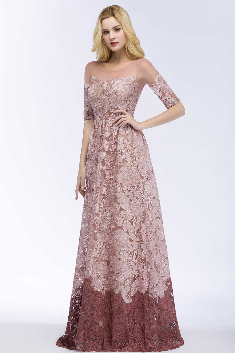 430bed5b97fcf Babyonline Half Sleeves Dusty Rose Lace Evening Dresses 2019 Elegant O Neck  Formal Evening Gowns Party Dress robe de soiree