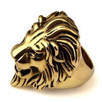 2016 New Big Hip Hop Mens Ring Leo Lion King Face Head Band Ring Men's Stainless Steel Gold Party Streetwear Jewelry Size 7-14