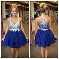New Arrival V-Neck Beautiful Short Prom Dress Blue Homecoming DresseS Mini Graduation Chiffon Vestido de festa curto 2017