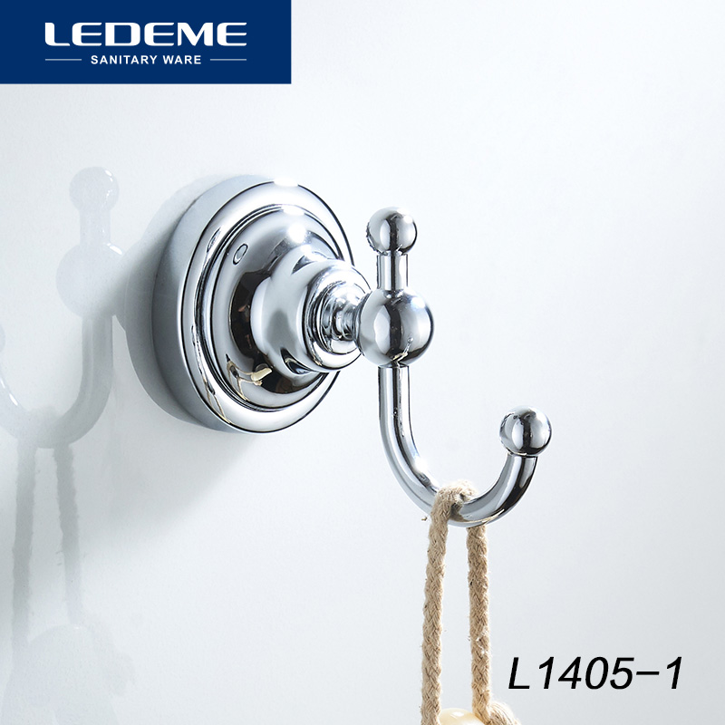 LEDEME Wall Hanging Hook Coat Bag Hat Hanger Rustic Robe Hook Wall Mounted Stainless Steel Hooks Chrome Bathroom Hooks L1405-1
