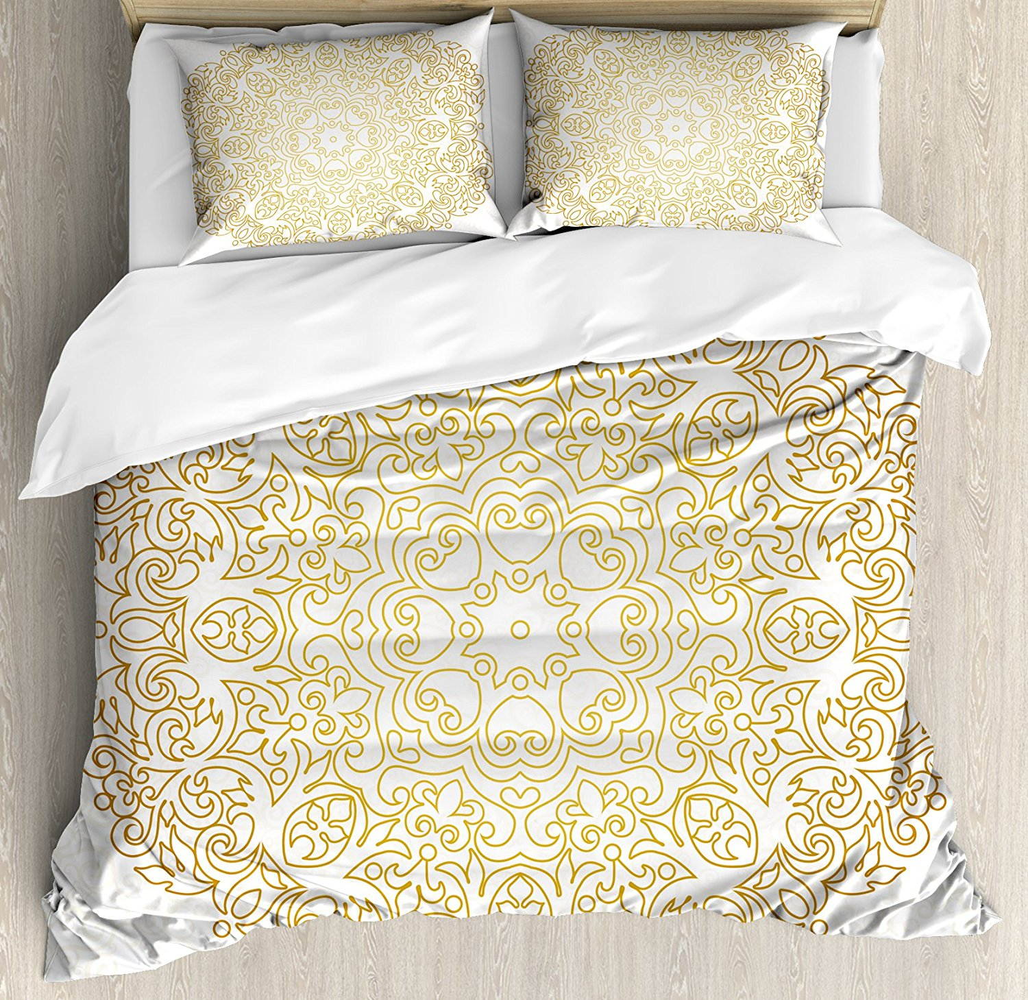 Mandala Duvet Cover Set Traditional Outline Design on Swirled Backdrop Victorian Baroque Moroccan Bedding Set Yellow and Coconut