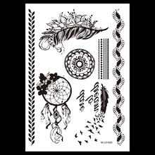 1 PC Hot Black Henna Indian Bird Feather Flower Letter Tattoo BM-LS1020 Temporary Women Body Art Bracelet Jewelry Tattoo Sticker
