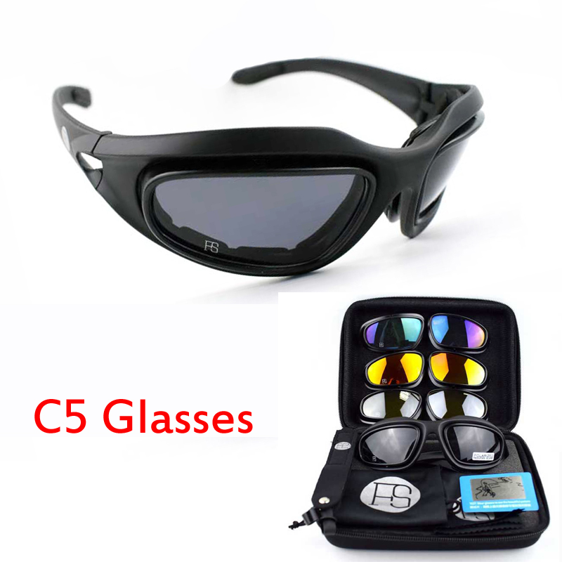 Outdoor Sport C5 Polarized Sunglasses For Hiking Climbing Glasses Tactical Military Goggles Eyewear With 4 Lens