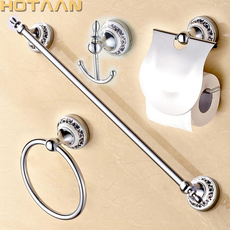 Free Shipping,Stainless Steel + Ceramic Bathroom Accessories Set,Robe Hook,Paper Holder,Towel Bar,Towel Ring,bathroom Sets,