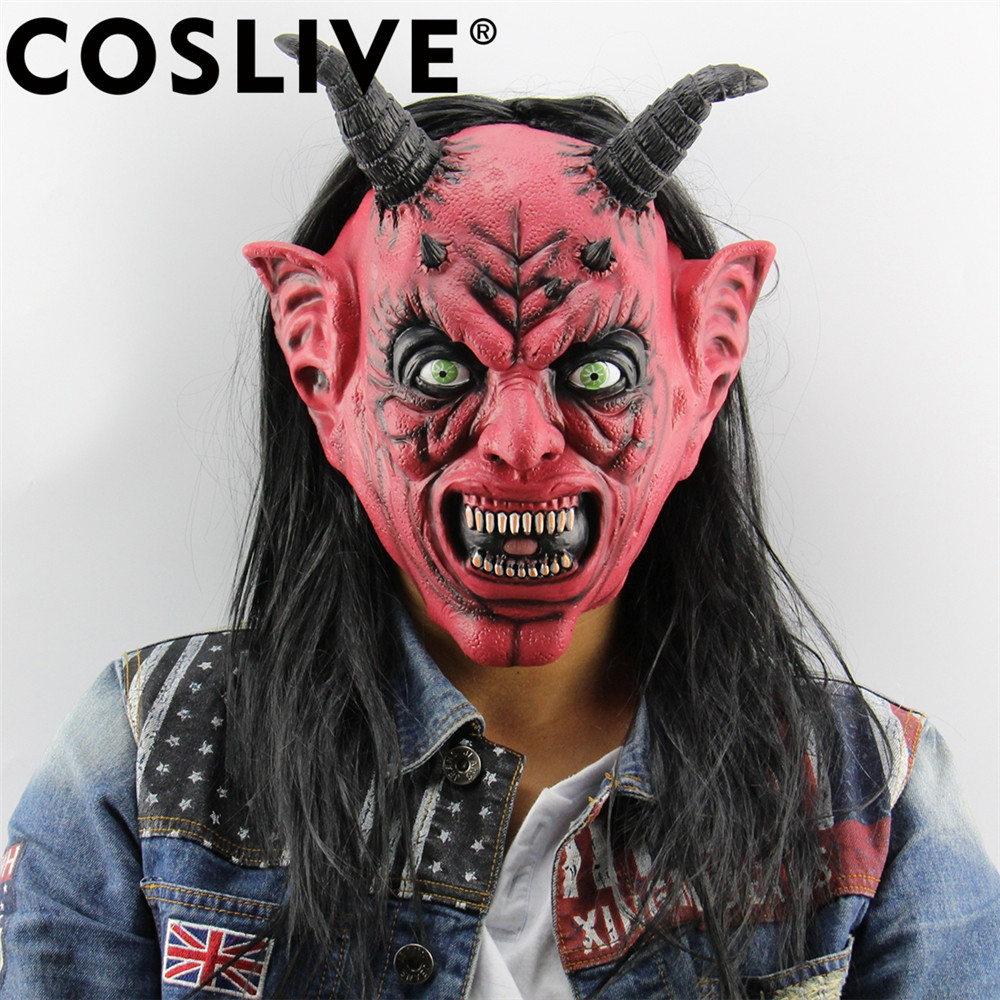 Coslive Clearance Sale Cosplay Party Mask Devil Inferno Satan Mask Horror Novelty Red Face Head Long Hair Masks Cosplay Props