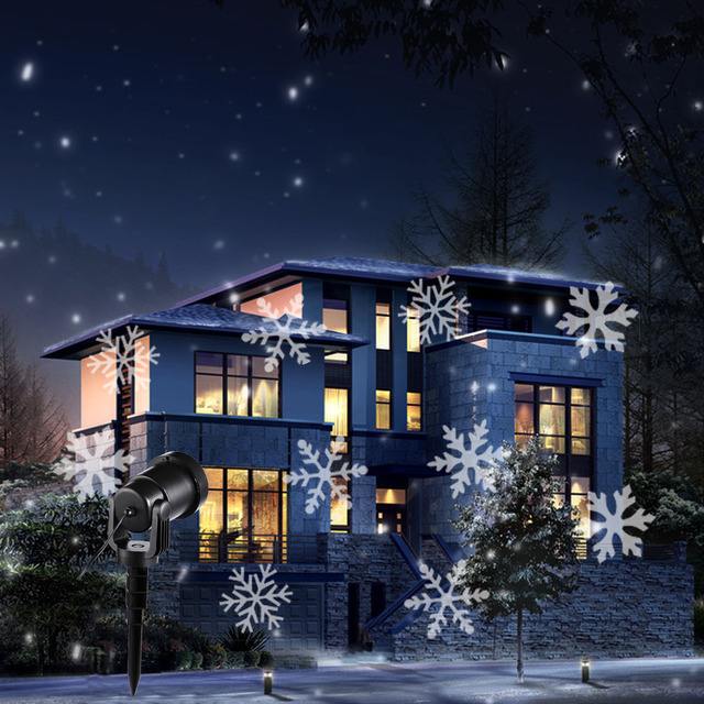 Proiettore Luci Natalizie Effetto Neve.Us 30 88 Fiocco Di Neve Led Effetto Luci Di Natale All Aperto Proiettore Di Luce Giardino Esterno Vacanza Xmas Tree Decorazione Di Illuminazione Di