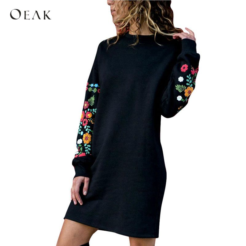 OEAK 2018 Fashion Women Autumn Dress Casual Long Sleeve Vintage Floral  Print Mini Hoodie Sweatshirt Dress 830ad6cacd75