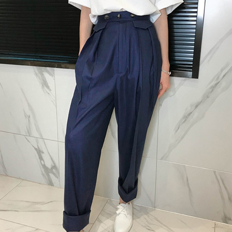 2019 Spring Loose Button Solid Flat Harem   Pants   Women Sale Trendy High Quality Casual Loose   Pant