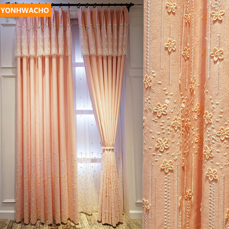 Custom Curtains Luxury Pastoral Cotton Linen Cloth Embossed Embroidered Nordic Pink Cloth Blackout Curtain Tulle Drape B358