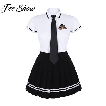 Girls Japanese School Uniform British Style School Uniform Anime Costume White T-shirt Top Black Pleated Skirt with Badge Tie plus size women in overalls