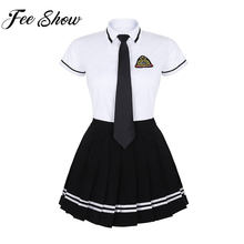 Girls Japanese School Uniform British Style School Uniform Anime Costume White T-shirt Top Black Pleated Skirt with Badge Tie(China)