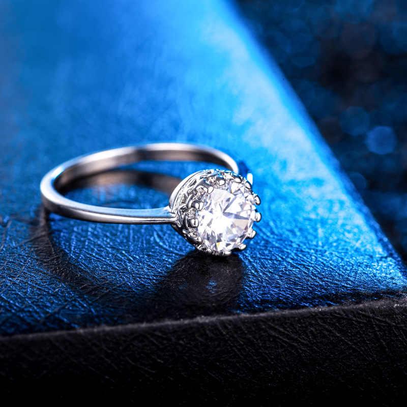 คลาสสิกรอบ Cubic Zirconia แหวนเงิน 925 สำหรับผู้หญิงหญิงสุภาพสตรีเครื่องประดับที่ดีที่สุดของขวัญ