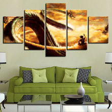HD Prints Canvas Pictures Modern Wall Art 5 Pieces Cartoon Dragon Ball Z Paintings Goku Ride Shenron Poster Home Decor Framework(China)
