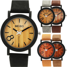 Men Vintage Natural Business Watches Women Casual Wooden Color Leather Strap Watch Lover Wood Male Wristwatch Relogio Masculino