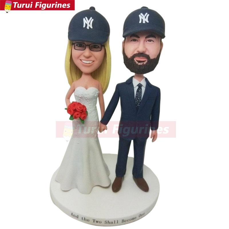 bobblehead Bride Groom Personalized Baseball Wedding Cake Topper NY Yankees Wedding Cake Topper NY Yankees Bobble Head Yankees W