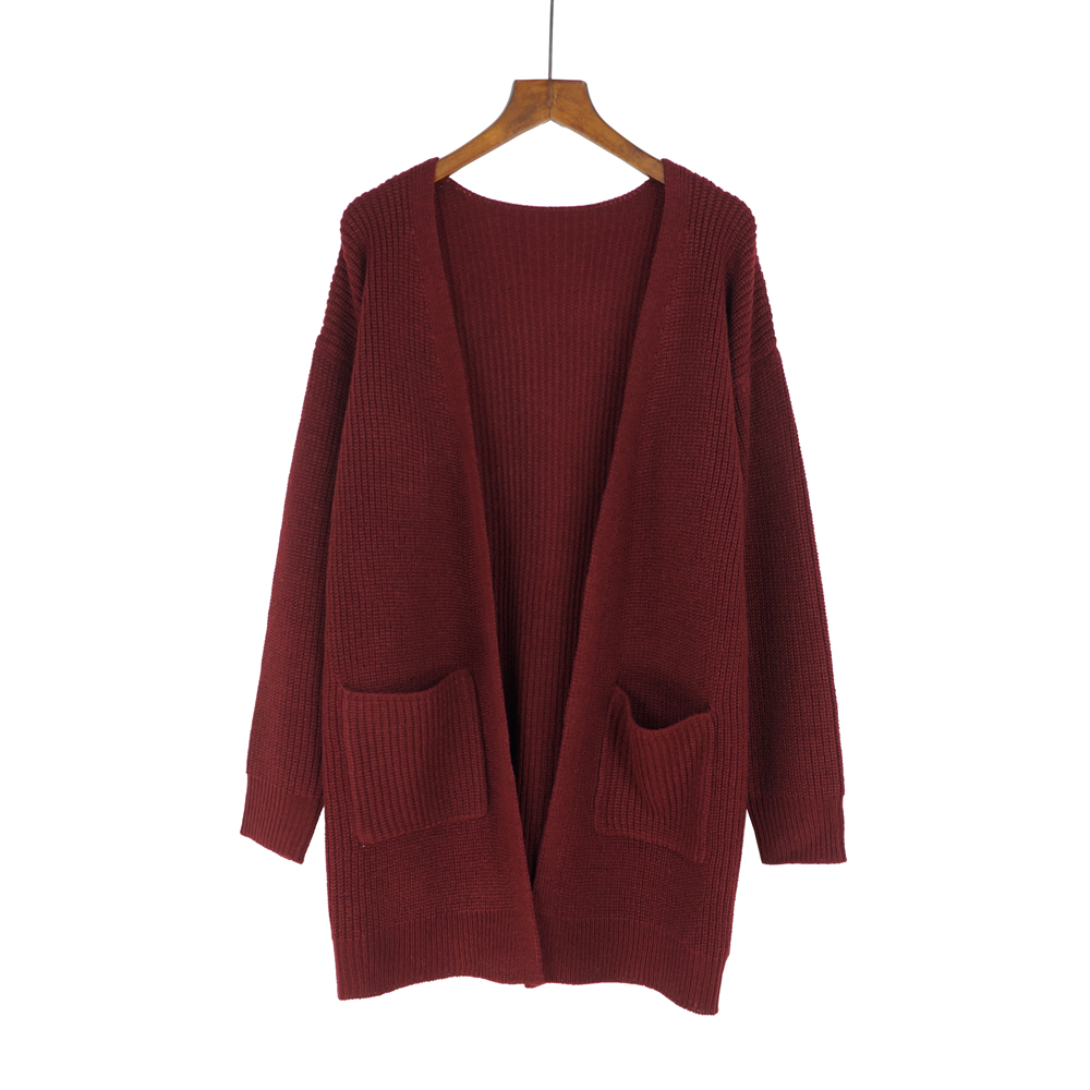 484a9c17bd524 Autumn burgundy pocket knitting long cardigan sweater Women soft knit  cardigan Long sleeve black female coat pull outerwear 2018-in Cardigans  from Women s ...