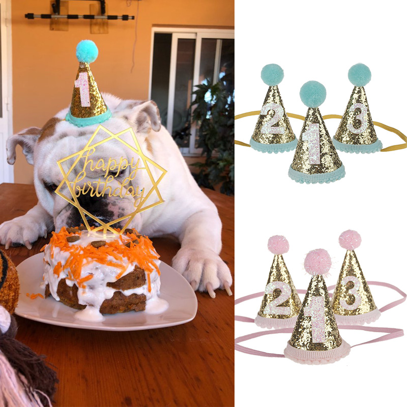 Glitter Pet Cat Dogs Caps 1st 2nd 3rd Year Happy Birthday Party Hats Headwear Decoration Pets Accessories Photobooth Props