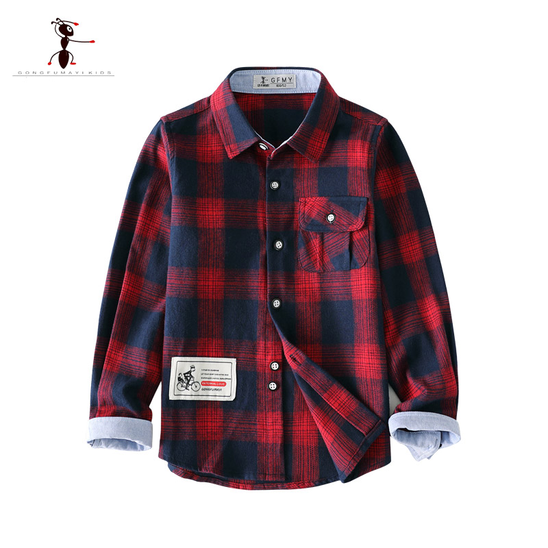KungFu Ant 2018 Boys Shirts Cotton Full Sleeve Turn-down Collar Plaid Clothing Baby Shirts For 3-10 Years Old Kids shirts 3096 manji baby boys clothing sets 0 3y autumn 2018 new fashion cotton turn down collar plaid 18053 kids clothes boys clothing suit