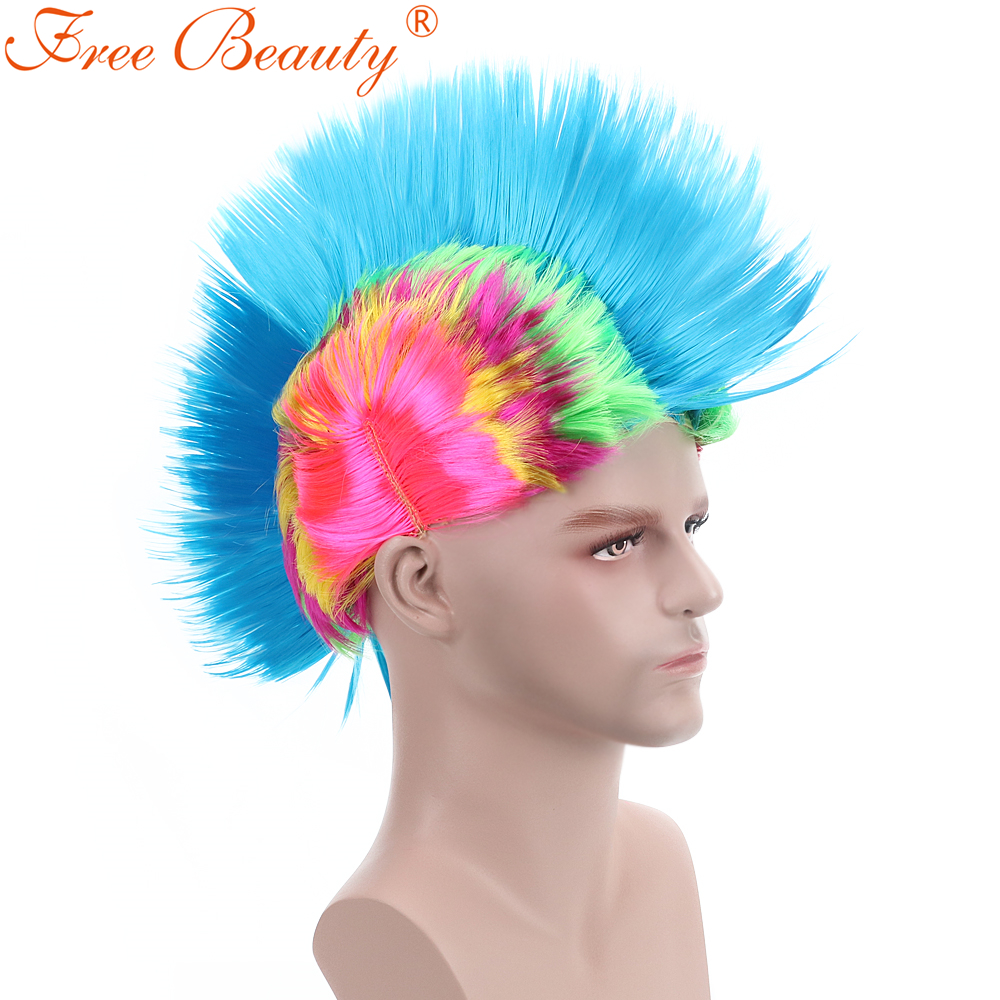 6 Mohawk Football Wigs Synthetic Hair For Men Short Straight Costume Perucas
