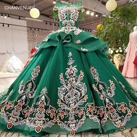 LS98550 color flowers green party dress o neck lace up liiusion back evening dress with peplum 2018 china online wholesale