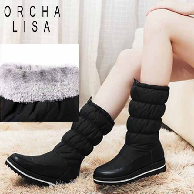 ff714ba23908 ORCHA LISA snow boots women warm thick fur waterproof platform mid-calf  winter boots round toe black botas mujer size 35-43