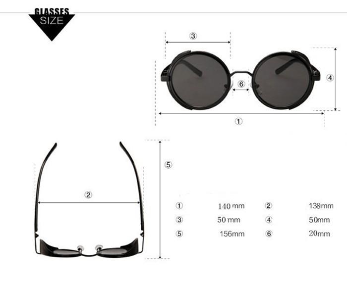 round steampunk sunglasses details