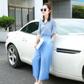2016 New Design Summer Fashion Dot Printing Chiffon Blouse Two Piece Wide Leg Pants Suit