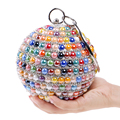New Arrival Ceramics Mixed Color Women Handbags With Handle Metal Diamonds Evening Bags Beaded Round Design Party Dinner Bags