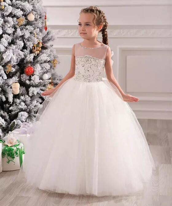 Little Flower Girl Dresses Girls Christmas Dresses Sheer beading Sequins Ball Gown Lace Up Back with Bow First Communion Gown 2018 purple v neck bow pearls flower lace baby girls dresses for wedding beading sash first communion dress girl prom party gown