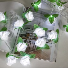 20LED Rose Flower with Green leaves LED String Lights Battery Wedding Birthday Valentines Day Decoration  D25