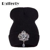 Ralferty Winter Women's Hats Luxury Crystal Accessory Headgear Beanie Hat For Women Caps Female Beanies bonnet femme gorros
