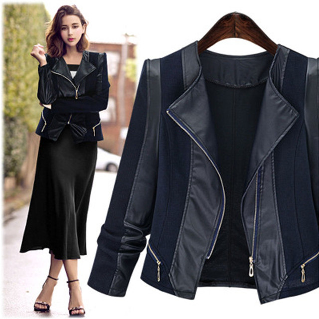 Basic Jackets Women Fashion PU Leather Patchwork Outerwear & Coats Slim Fit Short Over Coats Plus Size 5XL Female Autumn Jacket