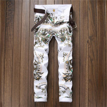 2016 Fashion Mens White Flower Printing Jeans European Nightclub Slim fit Pencil Jeans P5091