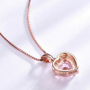 Image 3 - Umcho sólido 925 prata esterlina pingentes colares para as mulheres rosa morganite charme pingente de coração para presente da menina jóias finas