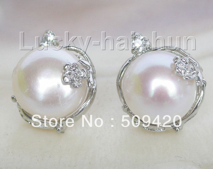 Free Shipping >>>>>natural 14mm white Freshwater pearls Earrings Platinum Plated Stud