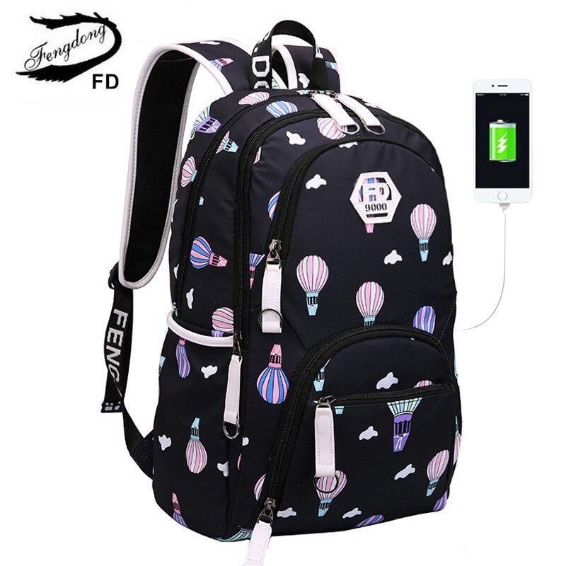 91adfa5f8d6 Fengdong las mujeres mochila de carga USB mochilas escolares para las niñas  y las mujeres bolsas hembra impermeable de gran capacidad mochila en  Mochilas de ...