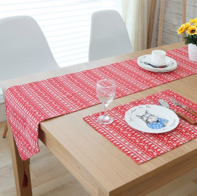 3/5/7-Pieces Linen Cotton Red Reindeer Table Runner And Placemat Sets & 3/5/7 Pieces Linen Cotton Red Reindeer Table Runner And Placemat ...