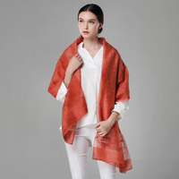 High Quality Silk and Wool Blended Embroidery Women Scarves and Wraps for Spring/Summer/Autumn/Winter Air conditioner office