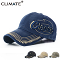 CLIMATE Denim Heavy Washed Classic 3D Logo Baseball Caps Sports Active Casual Hat One Size Adjustable Jeans Wear For Men Women
