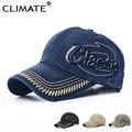 Climate pesada lavada de mezclilla clásico 3d logo gorras de béisbol deportes activo Ocasional Sombrero Un Tamaño Ajustable prendas de Jeans Para Hombres mujeres