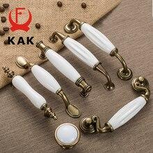 KAK Antique Bronze White Ceramic Cabinet Handles Zinc Alloy Drawer knobs Wardrobe Door Handle Simple European Furniture Hardware