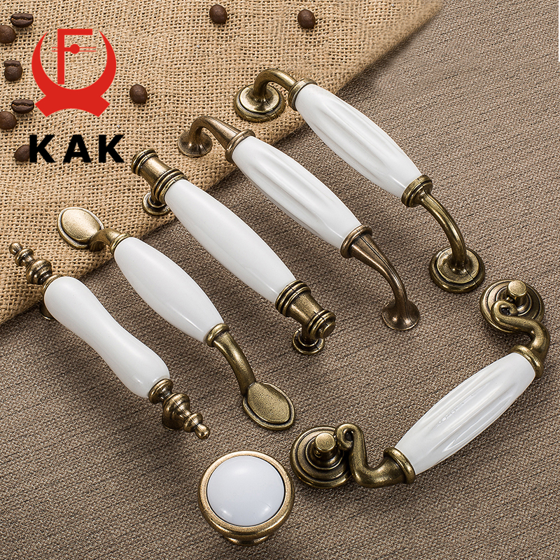 KAK Antique Bronze White Ceramic Cabinet Handles Zinc Alloy Drawer knobs Wardrobe Door Handles Simple European Furniture Handle antique european style and modern simple chinese cabinets wardrobe door drawer handles c c 250mm l 300mm