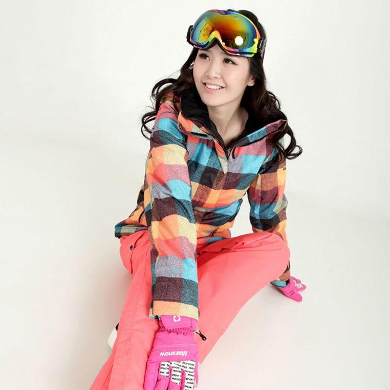 Nouvelle Hiver GSOU SNOW ski Costume Des Femmes Définit Coupe-Vent Imperméable et Respirante Femmes Neige Veste + Pantalon Chaud Vêtements Set livraison gratuite