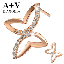 free shipping 18K rose gold 0.61ct nature diamond butterfly stud earring for women engagement aniversary