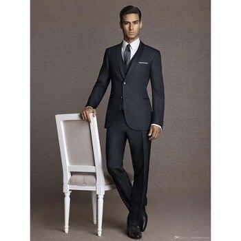 2017 New Classic Black Men suit Tuxedo 3 Pieces Wedding Suits For Men Peaked Lapel terno masculino Slim Fit Mens Suits
