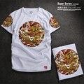 2016 новая мода Мужская Рубашка Quick Dry Майка Роскошь бренд Фитнес Колготки Мужчины Лето Мужчины Футболка печатные Одежда плюс размер