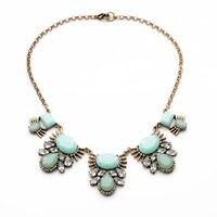 Vintage Jewelry Stella Collar Aqua Crystal Floral Bib Statement Necklaces Choker