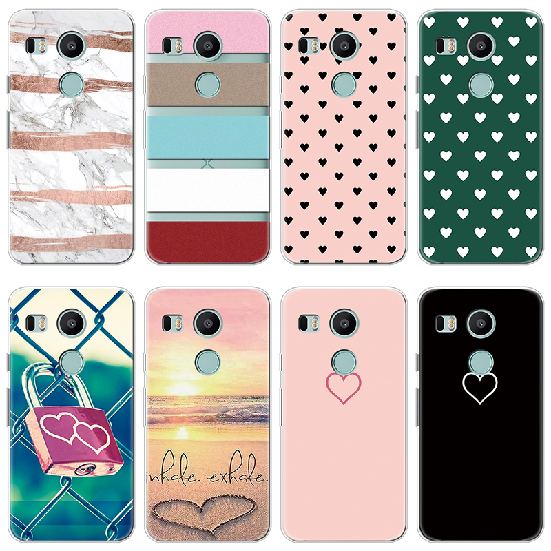 Soft TPU Silicone Cover for Coque LG Nexus 5X Case Heart Lover Simple Design Couple Gifts Protective Luxury Back Bags Coque